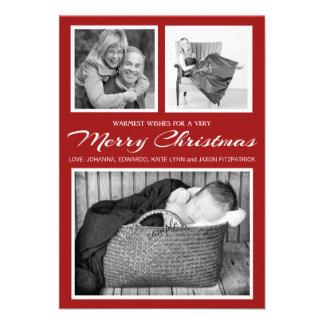 Felices Navidad rojas de la foto triple elegante s Anuncios