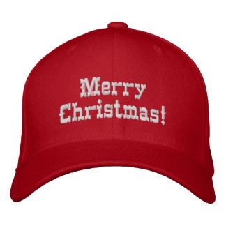 Felices Navidad rojas Gorra De Beisbol Bordada