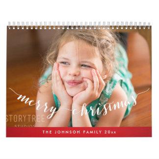 Felices Navidad rojas personalizadas lindas de los Calendario