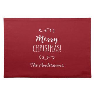 Felices Navidad rojas personalizadas Mantel