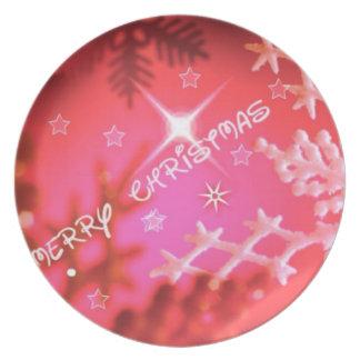 Felices Navidad rojas Platos