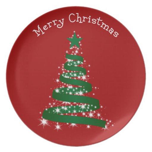 Felices Navidad rojas Plato De Comida