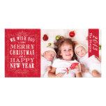 Felices Navidad rojas, tarjeta de la Feliz Año Nue Plantilla Para Tarjeta De Foto