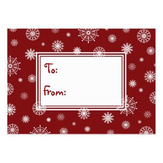 Felices Navidad rojas y etiquetas blancas del Tarjetas De Visita Grandes