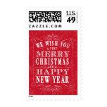 Felices Navidad rojas y Feliz Año Nuevo Sello