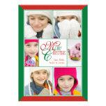 Felices Navidad rojas y saludo verde del collage d