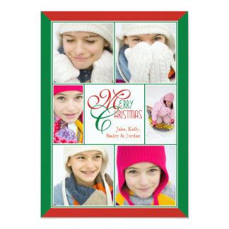 """Felices Navidad rojas y saludo verde del collage Invitación 5"""" X 7"""""""