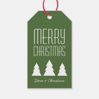Felices Navidad rojas y verdes personalizadas Etiquetas Para Regalos