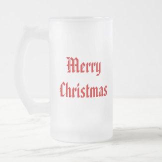 Felices Navidad. Rojo y blanco festivos. Taza De Cristal