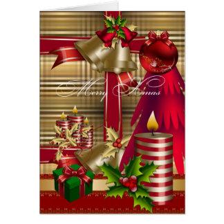 Felices Navidad rojos del oro verde de Navidad de Tarjeta De Felicitación