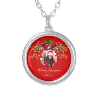 Felices Navidad rojos verdes de Navidad de la foto Joyeria Personalizada