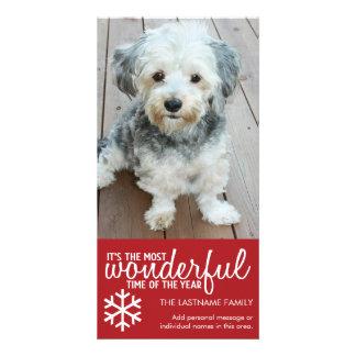 Felices Navidad - saludo rojo vertical de la foto Tarjetas Fotograficas Personalizadas