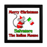 Felices Navidad Salvador el ratón italiano Cajas De Recuerdo