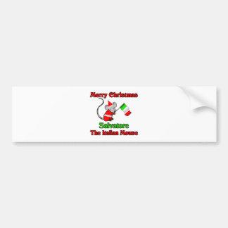 Felices Navidad Salvador el ratón italiano Etiqueta De Parachoque