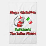 Felices Navidad Salvador el ratón italiano Toallas De Cocina