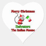 Felices Navidad Salvador el ratón italiano Colcomanias Corazon