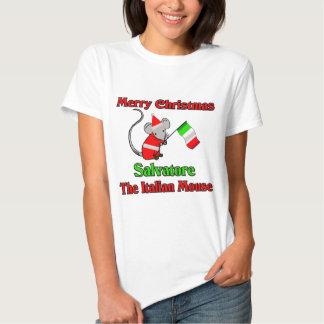Felices Navidad Salvador el ratón italiano Playera