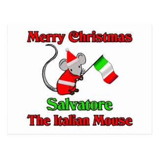 Felices Navidad Salvador el ratón italiano Postales