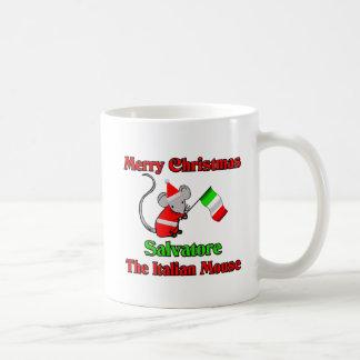 Felices Navidad Salvador el ratón italiano Taza
