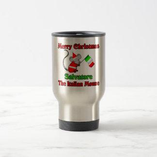 Felices Navidad Salvador el ratón italiano Taza Térmica