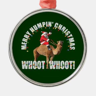 Felices Navidad Santa de Humpin y camello Adorno Navideño Redondo De Metal