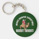 Felices Navidad Santa de Humpin y camello Llaveros Personalizados