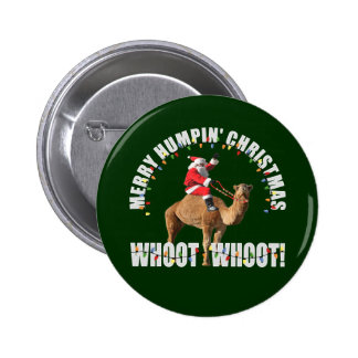 Felices Navidad Santa de Humpin y camello Pin Redondo De 2 Pulgadas
