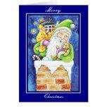 Felices Navidad Santa de la tarjeta del vintage de