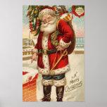 Felices Navidad Santa del vintage Impresiones