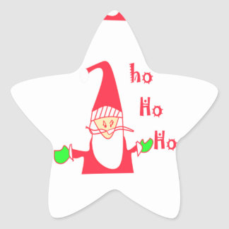 Felices Navidad Santa divertido Hohoho de las Pegatina En Forma De Estrella