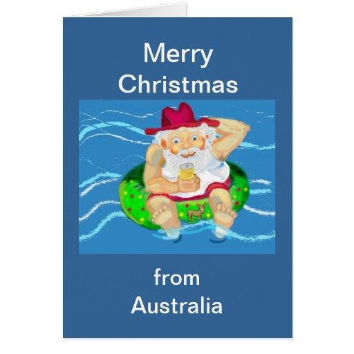Felices Navidad Santa en Australia Tarjeta De Felicitación