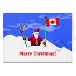 Felices Navidad Santa en Canadá Tarjetón