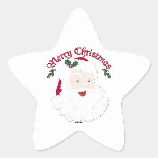 Felices Navidad Santa - escritura del vintage Pegatina En Forma De Estrella