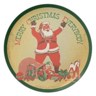 Felices Navidad Santa retro Plato De Comida