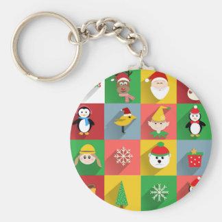 Felices Navidad, Santa y ayudantes Llavero Redondo Tipo Pin