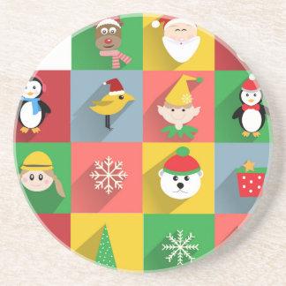 Felices Navidad, Santa y ayudantes Posavasos Diseño