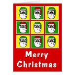 Felices Navidad Santas coloridos Tarjetón