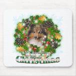 Felices Navidad Sheltie Alfombrilla De Ratones