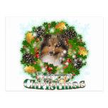 Felices Navidad Sheltie Tarjeta Postal