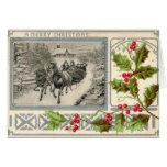 Felices Navidad, Sleigh traído por caballo, Vintag Felicitación