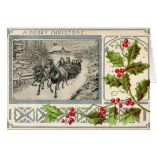 Felices Navidad, Sleigh traído por caballo, Vintag Tarjeta De Felicitación