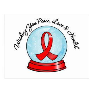 Felices Navidad Snowglobe de la cinta del cáncer Tarjeta Postal