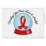 Felices Navidad Snowglobe de la cinta del SIDA Felicitacion