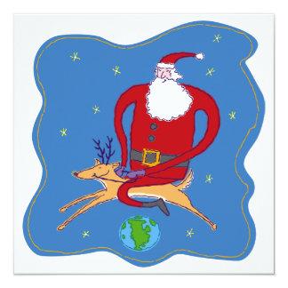 """Felices Navidad sobre la tarjeta de Santa del Invitación 5.25"""" X 5.25"""""""