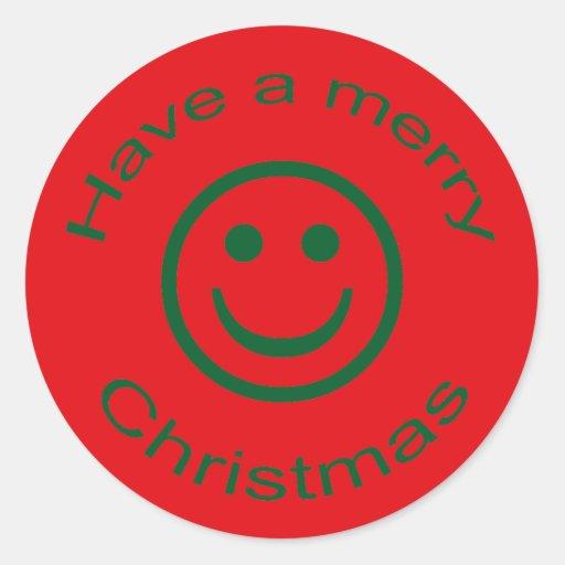 Felices Navidad sonrientes Pegatina Redonda