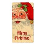 Felices Navidad sonrientes V01 de Santa del vintag Etiqueta De Envío
