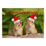 ¡Felices Navidad! Tarjeta de los Chipmunks de Sant