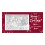 ¡Felices Navidad! Tarjeta roja de la foto del copo Tarjetas Personales Con Fotos