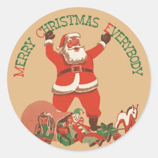¡Felices Navidad todos! Vintage Papá Noel Pegatina Redonda