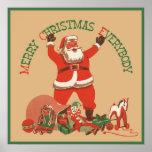 ¡Felices Navidad todos! Vintage Papá Noel Póster